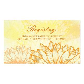 Vibrant Sunflower Wedding Registry Card Pack Of Standard Business Cards