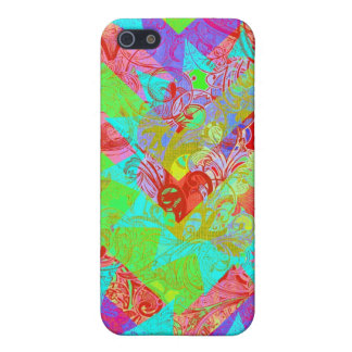 Vibrant Teal Blue Abstract Girly Collage Print iPhone 5/5S Cases