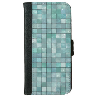 Vibrant Teal Geometric Decorative Tile Pattern iPhone 6 Wallet Case