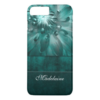 Vibrant Teal Green with Floral Theme iPhone 7 Plus Case