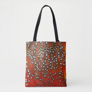 Vibrant Tragopan Feather Abstract Tote Bag