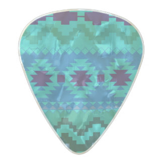 Vibrant tribal abstract pattern pearl celluloid guitar pick