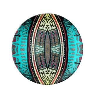 Vibrant tribal mask contemporary designer plate