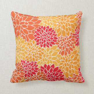 Vibrant Tropical colorful Flowers Pattern Cushion
