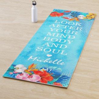 Vibrant Tropical Ocean Inspirational Quote | Name Yoga Mat