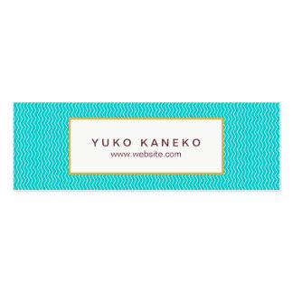 Vibrant Turquoise Blue Chevron Pattern Trendy Fun Pack Of Skinny Business Cards