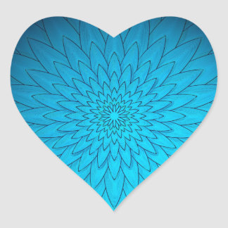Vibrant Turquoise Blue Flower Heart Sticker