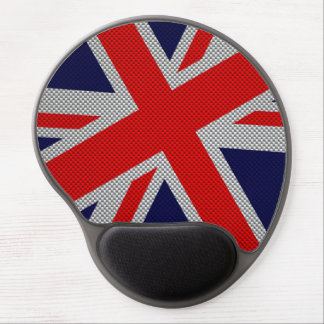 Vibrant Union Jack on Carbon Fiber Style Print Gel Mouse Pad