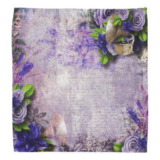Vibrant Vintage Purple Roses green lavender 3D Do-rags
