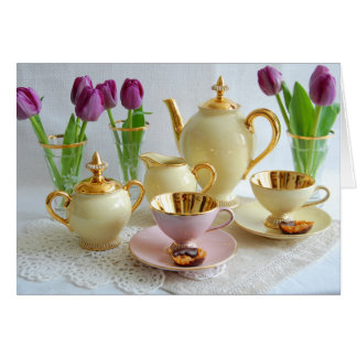 Vibrant Vintage Tea/Coffee Tulips Greetings Card