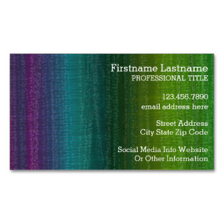 Vibrant Watercolor Abstract Stripes Custom Name Magnetic Business Cards (Pack Of 25)