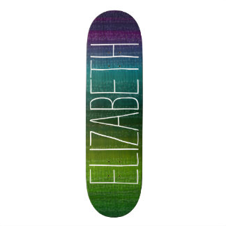 Vibrant Watercolor Abstract Stripes Custom Name Skateboard