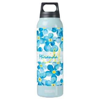 Vibrant watercolor blue forget me not flowers name insulated water bottle