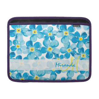 Vibrant watercolor blue forget me not flowers name MacBook air sleeves