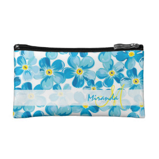 Vibrant watercolor blue forget me not flowers name makeup bag