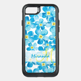Vibrant watercolor blue forget me not flowers name OtterBox commuter iPhone 8/7 case