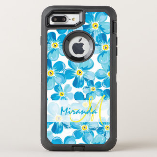 Vibrant watercolor blue forget me not flowers name OtterBox defender iPhone 8 plus/7 plus case
