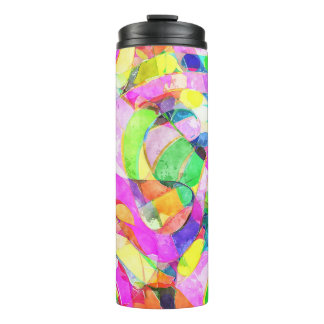 Vibrant watercolor print on thermal tumbler. thermal tumbler