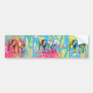 vibrant watercolours splatters elephant sketch bumper sticker