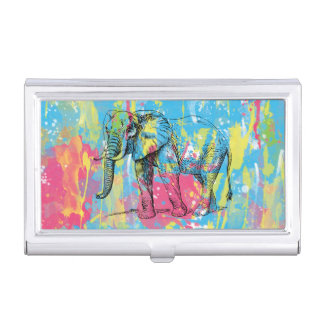 vibrant watercolours splatters elephant sketch business card holder