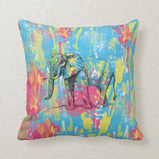 vibrant watercolours splatters elephant sketch cushion