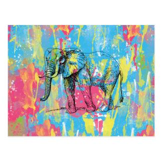 vibrant watercolours splatters elephant sketch postcard