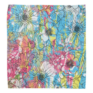 vibrant watercolours splatters floral sketch bandana