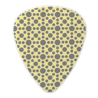 Vibrant yellow and black polka dot pattern polycarbonate guitar pick