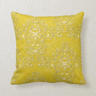Vibrant Yellow Floral Damask Pattern Cushion