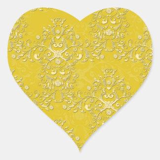 Vibrant Yellow Floral Damask Pattern Heart Sticker