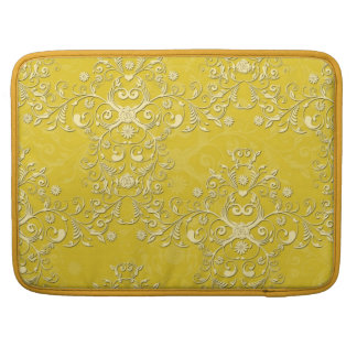Vibrant Yellow Floral Damask Pattern Sleeve For MacBook Pro