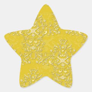 Vibrant Yellow Floral Damask Pattern Star Sticker