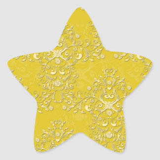 Vibrant Yellow Floral Damask Pattern Star Sticker