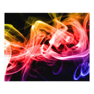 Vibrant Yellow Orange Purple Abstract Smoke 11.5 Cm X 14 Cm Flyer