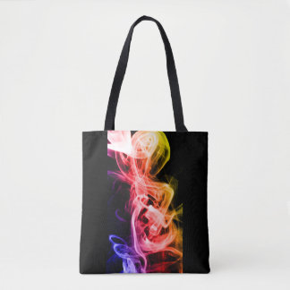 Vibrant Yellow Orange Purple Abstract Smoke Tote Bag