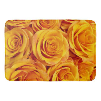 Vibrant Yellow Roses Bath Mat