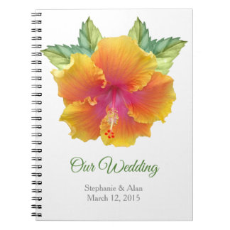 Vibrantly Colored Hibiscus Wedding Notebook