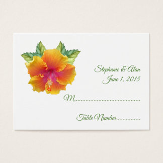 Vibrantly Colored Hibiscus Wedding Place Cards
