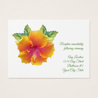 Vibrantly Colored Hibiscus Wedding Reception Business Card