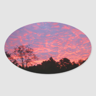 Vibrantly Pink Sunrise Oval Sticker
