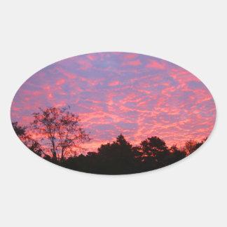 Vibrantly Pink Sunrise Oval Sticker
