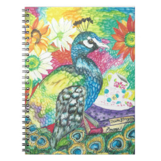 Vibrently colored peacock and blossoms notebooks