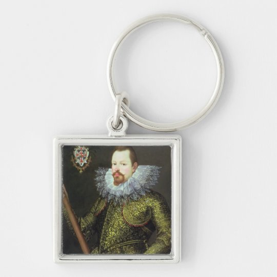 Vicenzo Gonzaga, Duke of Mantua, 1600 Silver-Colored Square Key Ring
