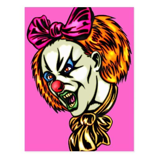 Vicious Female Clown Post Cards