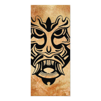 Vicious Tribal Mask Black grunge 002 4x9.25 Paper Invitation Card