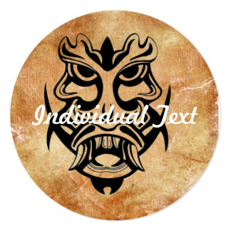 Vicious Tribal Mask Black grunge 002 13 Cm X 13 Cm Square Invitation Card