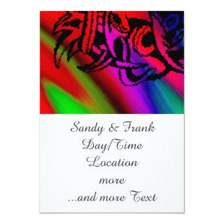 "Vicious Tribal Mask Black rainbow 003 5"" X 7"" Invitation Card"