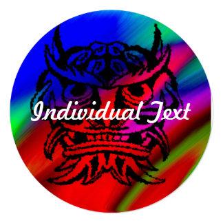 "Vicious Tribal Mask Black rainbow 003 5.25"" Square Invitation Card"