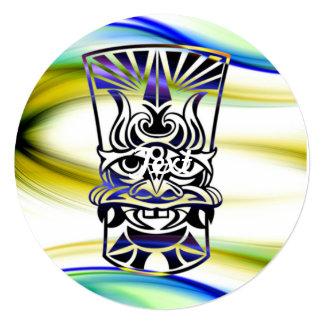 Vicious Tribal Mask blue 009 13 Cm X 13 Cm Square Invitation Card