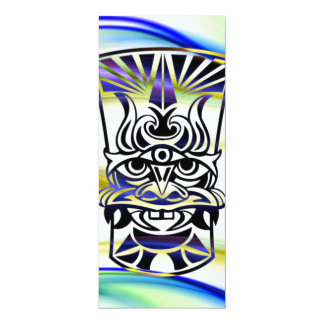 Vicious Tribal Mask blue 009 4x9.25 Paper Invitation Card